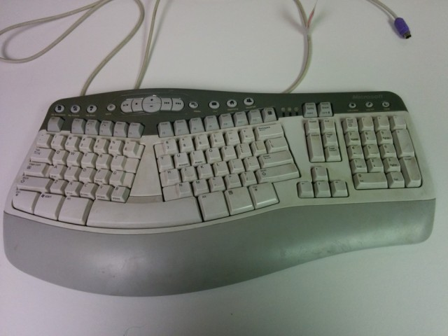 Well-used Microsoft Natural MultiMedia keyboard